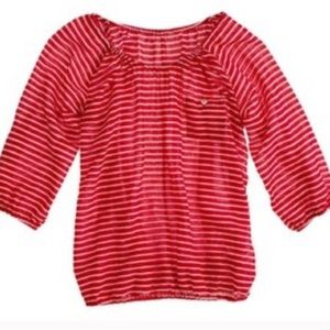 J.Crew Red White Stripe 3/4 Sleeve Blouse XS
